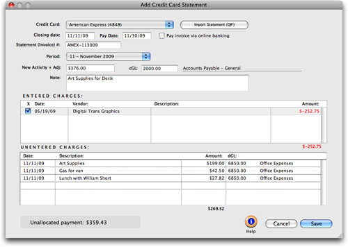Clients Profits X User Guide Add Credit Card Statement - Open invoice statement
