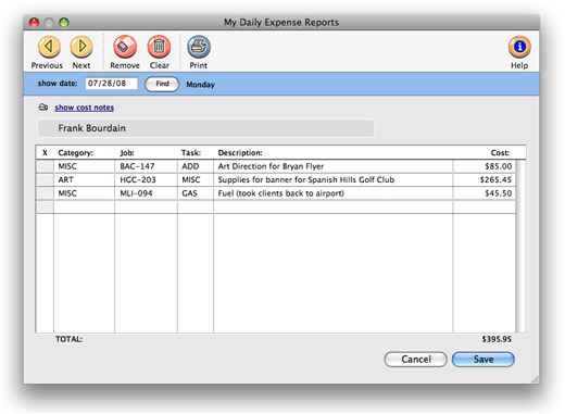 Clients & Profits X User Guide: My Expense Reports