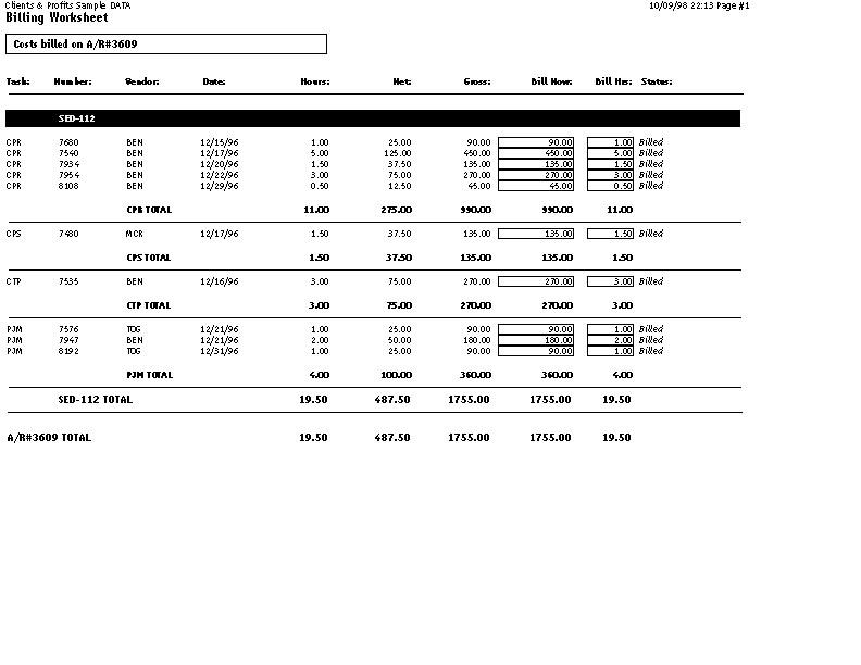 clients profits x user guide billing worksheet